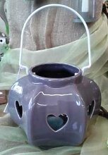 Windlicht - Teelichthalter aus Keramik mit Henkel