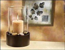 Windlicht, Teelichthalter, Kerzenhalter, Kerzenschale + Kerze + Zubehör 7005