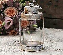 Rosendekor Teelichthalter Kerzenglas Metall//Glas Vintage Chic Antique Windlicht m