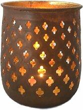 Windlicht Teelichthalter Rostoptik mit Sternen 13 cm hoch Goldschimmer innen Weihnachtsdekoration Weihnachten Stimmungslich
