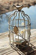 Windlicht Teelichthalter Vogel Design aus Metall Garten Deko Vogel & Perlen Grau 17x9cm