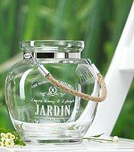 Windlicht Vase JARDIN mit Tau bauchig Dekoration Kerzenhalter