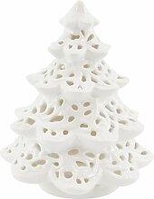Windlicht Weihnachtsbaum, Porzellan, weiß,