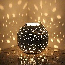 Windlicht weiss Laterne Shabby Gartenlaterne rund Teelicht Kugel PILVI 2 Grössen (L = ø 14,5cm/H 15,5cm)