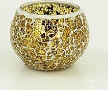 Windlicht Windlichthalter Teelichthalter Glas Mosaik Mosaiksteine gold weiß 10x7 cm Gartendekoration Gartendeko Frühling Sommer