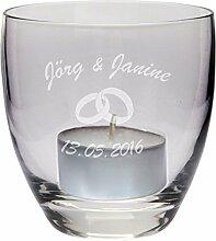 Windlicht zur Hochzeit (mit Ringen) - personalisiert mit Namen & Datum, Windlicht mit Spruch, Liebe, Unendlichkeit, Liebe, Teelicht, Hochzeit, Ehe, Geschenk, Geschenkidee, Paar, Wedding