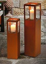"Windlichtsäule ""Candle"", 2tlg. Dekosäule, Windlicht Dekofeuer Garten Rost Optik"