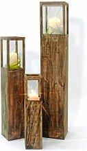 Windlichtset, Holzlaterne, braun, Laterne 3-er Se