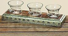 Windlichtset Sawade 4 teilig aus Holz-Metall-Glas Geschenkidee Teelichthalter
