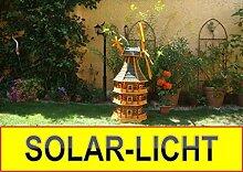 Windmühle 1,6 m, mit dickem Bitumen, mit Windrad, Seitenruder, Windfahne, DREISTÖCKIG, WMB-RAD160gr-MS ,Windmühlen mit Licht, Windmühlen garten, mit Solarbeleuchtung, MIT SOLAR, für Außen 1,60 m groß grün grau