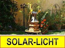 Windmühle 140 cm, mit dickem Bitumendach, mit Windrad, Seitenruder, Windfahne, WMB-RAD140at-MS schwarz anthrazit ,Windmühlen mit Licht Solarbeleuchtung für Außen 1,40 m