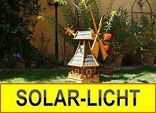 Windmühle, mit dickem Bitumen, mit Windrad, Seitenruder, Windfahne, WMB-RAD130at-MS ,Windmühlen mit Licht Solarbeleuchtung für Außen 1,30 m groß in schwarz