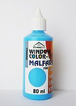 WINDOW COLOR MALFARBE 80ml Farbe Fenstermalfarbe Fensterfarbe 24 Farben Glas (Hellblau)