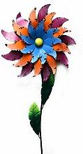 Windrad Windblume Windspiel Gartenstecker Dekostecker Blumenstecker Gartendeko Planzstecker Blume auf Stab Metall Bunt Garten Dekoration - Gall&Zick