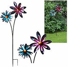 Windrad Windspiel Garten Dekoration Wetterfahne aus Eisen mit 2 Windrädern 125 cm hoch