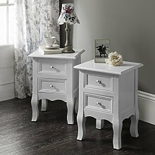 Windsor AGTC0013 Double Set of Two Bedside Tables Nightstands by Royal Dressing Tables