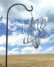 Windspiel Blume 21x21cm Stab 100cm