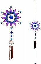 Windspiel bunt handgefertigt lila Spray mit Glas Bead Detail