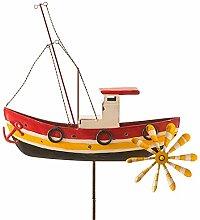 Windspiel Fischerboot Metall Windrad Boot Kutter Garten Dekoration Terrasse