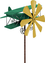 Windspiel Flugzeug Metall-Windrad DOPPELDECKER