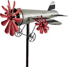 Windspiel Flugzeug Metall-Windrad ROSINENBOMBER