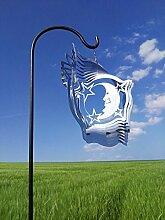 Windspiel Mond groß 25x25cm Stab 100cm