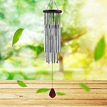 Windspiel, Windspiel Garten Gartendeko, Windspiel Metall mit 27 Silbernen Tubes Klingt Knackig Windspiele für draußen Dekoration für Garten Outdoor Zuhause Party