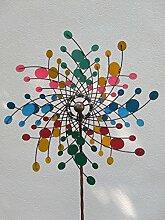 Windspinner Windrad Windmühle Windspiel Metall auf Stab Ø 60cm