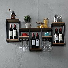 Wine Rack - ♦ JJ Retro Eisen Holz Wand Weinregal