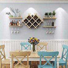 Wine Rack - ♦ JJ Weinregal aus Holz Wand Rhombic