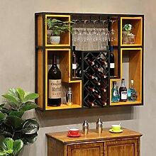 Wine Rack - Haushalt Wand Hängen Holz/Metall