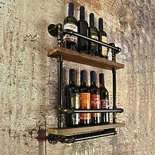Wine Rack - Vintage Schmiedeeisen Massivholz