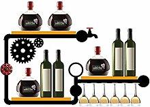 Wine Racks Wandbehänge Schmiedeeisen Regale Wandschränke Hängende Glashalter Industrielle Vintage-Rohre Kreative Dekoration Racks,A