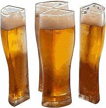 WINFCOY 4 In 1 klarer Acryl-Plastik-Bierkrug,