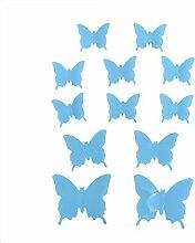 Winhappyhome Abnehmbarer 3D Selbstklebende Kunststoff Schmetterlings Aufkleber für KüHlschrank Wand Hintergrund Dekor (Blau)