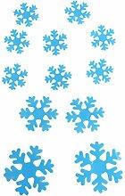 Winhappyhome Abnehmbarer 3D Selbstklebende Kunststoff Schneeflocke Aufkleber für KüHlschrank Wand Hintergrund Dekor (Blau)