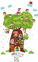 Winhappyhome Affe Karikatur Baum Wand Aufkleber für Kind Schlafzimmer Wohnzimmer Café Kinderzimmer Hintergrund Entfernbare Kunst Dekor Abziehbilder