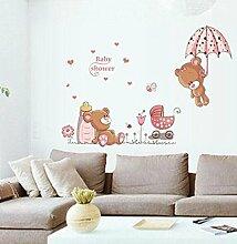 winhappyhome Cute Bear Art Wand Aufkleber für Kinder Raum Kinderzimmer Hintergrund abnehmbarer Decor Aufkleber