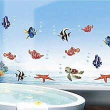 Winhappyhome DIY Unterwelten Fische Kinderwand Aufkleber FüR Schlafzimmer Badezimmer Kulisse Dekor Entfernbare Abziehbilder