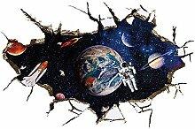winhappyhome Moon Astronaut Art Wand Aufkleber für Kinder Schlafzimmer Wohnzimmer TV Kinderzimmer Hintergrund abnehmbarer Decor Aufkleber