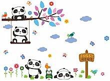 Winhappyhome Pandas DIY Wand Kunst Aufkleber für Kinder Schlafzimmer Wohnzimmer Kaffee Shop Hintergrund Abnehmbare Dekor Decals