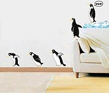 winhappyhome Pinguin Art Wand Aufkleber für Kinder Schlafzimmer Wohnzimmer Kinderzimmer Hintergrund DIY Abnehmbare Decor Aufkleber