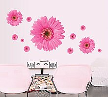 Winhappyhome Romantische Daisy Wand Aufkleber FüR Schlafzimmer Wohnzimmer Fernseher Café Hintergrund Entfernbare Dekor Aufkleber Abziehbilder (Rosa)