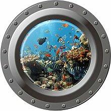 Winhappyhome Submarine 3D FäLschungs Fenster Wand Aufkleber für Kinder Schlafzimmer Wohnzimmer Waschmaschine KüHlschrank TüR Hintergrund Entfernbare Dekor Abziehbilder W002