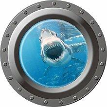 Winhappyhome Submarine 3D FäLschungs Fenster Wand Aufkleber für Kinder Schlafzimmer Wohnzimmer Waschmaschine KüHlschrank TüR Hintergrund Entfernbare Dekor Abziehbilder W003