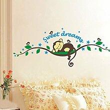Winhappyhome Sweet Dream Affe Scherzt Wand Aufkleber FüR Schlafzimmer Hintergrund Wandzeichnungen Home Decor Removable Decals