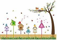Winhappyhome Vogel Nest Baum Wand Aufkleber für Kinderzimmer Kinderzimmer Hintergrund Entfernbare Dekor Kunst Abziehbilder
