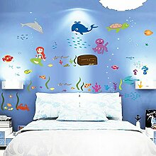 winhappyhome Wand Aufkleber Ocean Welten Aufkleber für Kinder Schlafzimmer Wohnzimmer Kinderzimmer Hintergrund abnehmbarer Decor Art Aufkleber