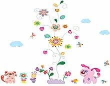 winhappyhome Wand Aufkleber Vines Blumen Kunst Aufkleber für Kinder Schlafzimmer Wohnzimmer TV Kinderzimmer Hintergrund abnehmbarer Decor Aufkleber