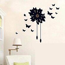 winhappyhome Wanduhr Aufkleber Modern Black Butterfly